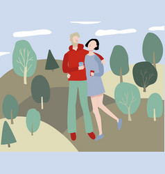 cartoon love couple in park background vector image