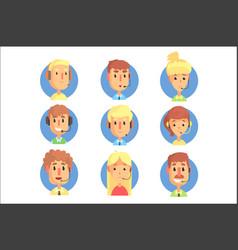 cartoon male and female call centre operators vector image