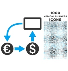 Cashflow Euro Exchange Icon with 1000 Medical vector