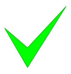 Check mark green pointed vector