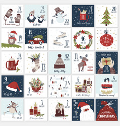 christmas cartoon advent calendar countdown till vector image