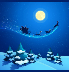 Christmas Nature Landscape with Santa Claus Sleigh vector image