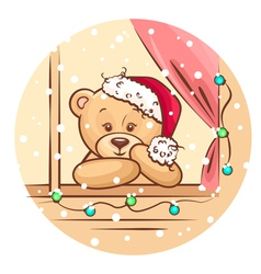 christmas teddy vector image