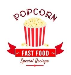 Cinema fast food snacks icon with popcorn bucket vector
