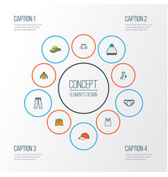 clothes icons colored line set with underpants vector image