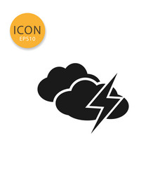 Clouds with thunder icon isolated flat style vector
