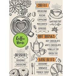 Coffee restaurant cafe menu template design vector