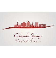 Colorado Springs V2 skyline in red vector image