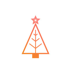 Colorful gradient christmas tree flat icon vector