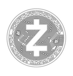 Crypto currency zcash black and white symbol vector