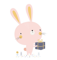 Cute bunny with gift vector