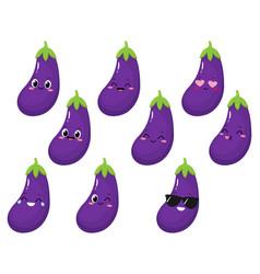 Cute happy eggplant cartoon emoji set vector