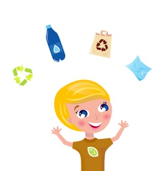 cute recycling boy vector image