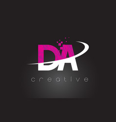 Da d a creative letters design with white pink vector