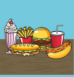 Delicious fast food with icream and soda vector