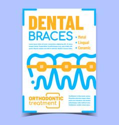 Dental braces creative advertising banner vector