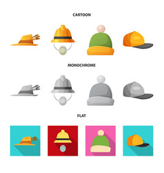 design of headgear and cap logo set of vector image