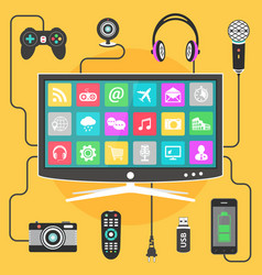 Digital devices connected to a modern smart tv vector