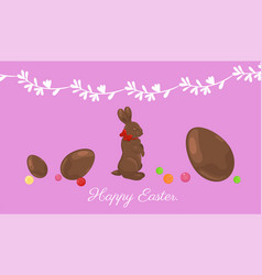 easter banner with chocolate bunny and eggs vector image