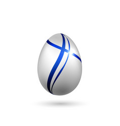 Easter egg 3d icon blue silver egg isolated vector