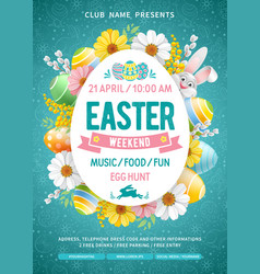 Easter weekend party flyer template vector