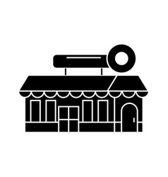 fast food cafe building black icon concept fast vector image