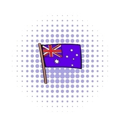 Flag of Australia icon in comics style vector
