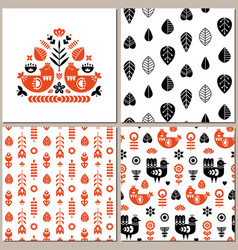 folk art pattern collection with seamless vector image