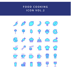 food cooking icon set filled outline set vol 2 vector image