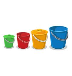 garden plastic buckets vector image