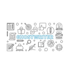 ghostwriter horizontal outline banner or vector image