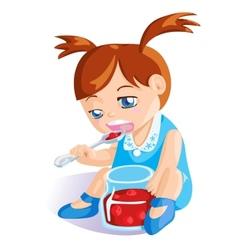 Girl eating cherry jam vector