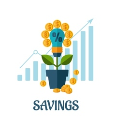 Growing money flat concept vector image vector image