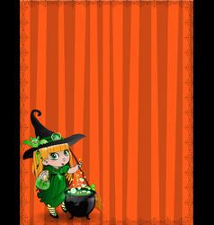 Halloween template with kawaii witch girl broom vector