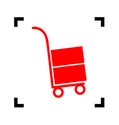 hand truck sign red icon inside black vector image