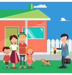 Happy Family Buying a New House Real Estate Agent vector image