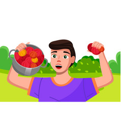 Happy young farmer is holding a pan with bright vector