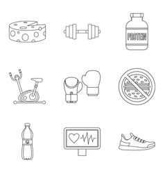 heartbeat icons set outline style vector image