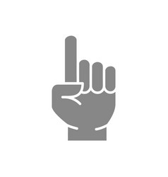 Index finger gesture gray icon attention symbol vector