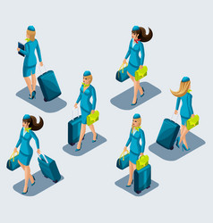 Isometry set of female stewardesses in beautiful vector