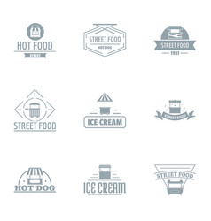 junk food logo set simple style vector image
