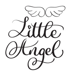 Little angel words on white background hand drawn vector