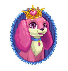 Little cute cartoon fluffy dog portrait vector