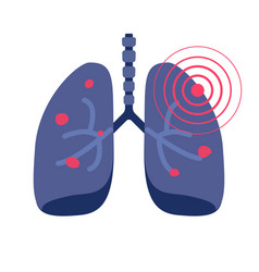 lungs cancer illness or lung pneumonia and vector image