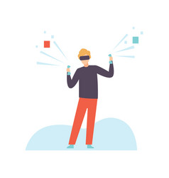 man in vr goggle headset playing games modern vector image