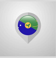 Map navigation pointer with christmas island flag vector