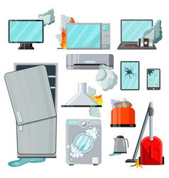 Modern flat consumer electronics home appliances vector