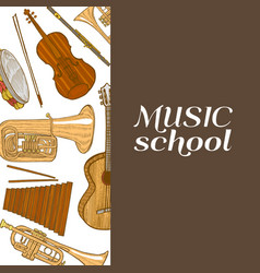 musical instruments composition in hand drawn vector image