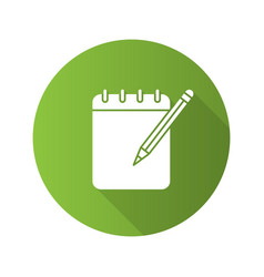 notepad with pencil flat linear long shadow icon vector image