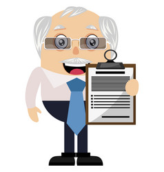 Old man with schedule on white background vector